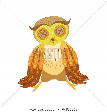 Sick Owl Cute Cartoon Character Emoji With Forest Bird Showing Human Emotions And Behavior. Vector Illustration With Woodland Animal And Its Life Situation.