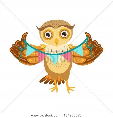 Owl Holding Paper Garland Cute Cartoon Character Emoji With Forest Bird Showing Human Emotions And Behavior. Vector Illustration With Woodland Animal And Its Life Situation.