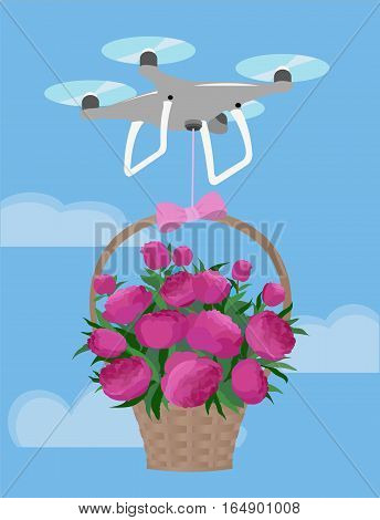 Drone Deliver Gift Basket Pink Peonies Bouquet Valentine Day Love
