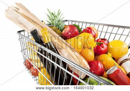 Closeup of a Shopping Cart Full of Groceries