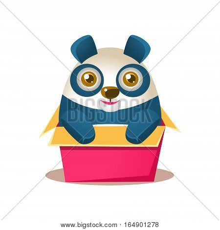 Cute Panda Activity Illustration With Humanized Cartoon Bear Character Hiding In Carton Box. Funny Animal In Fantastic Situation Vector Emoji Drawing.
