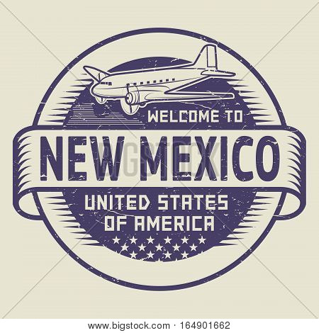 Grunge rubber stamp or tag with airplane and text Welcome to New Mexico United States of America vector illustration