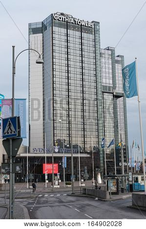 Gothia Tower in Gothenburg Sweden. High building in glass and aluminum. Gothenburg, Sweden 2016-11-22