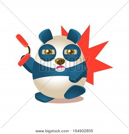 Cute Panda Activity Illustration With Humanized Cartoon Bear Character Fighting With Nunchaku. Funny Animal In Fantastic Situation Vector Emoji Drawing.