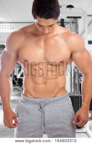 Bodybuilder Bodybuilding Muscles Abs Sixpack Fitness Gym Strong Muscular Man Looking Down