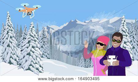 Mountain Winter Landscape Couple Selfie Dronie Quadcopter Drone Video Blogger