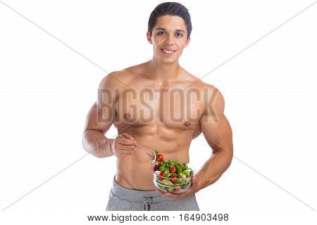 Eating Food Salad Bodybuilding Bodybuilder Body Builder Building Muscles Muscular Young Man Isolated