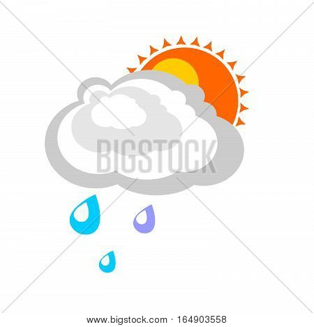 Rain cloud covers the sun. Simple graphics in flat style. Sign of cloudy weather