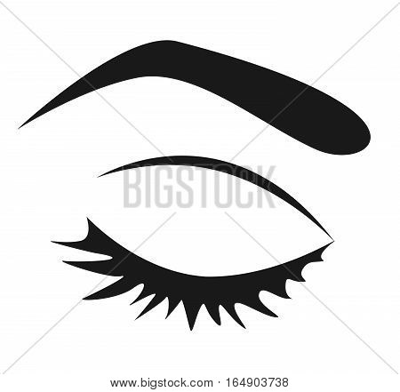 Black silhouette of female closed eye with long eyelashes on a white background. Simple graphics.