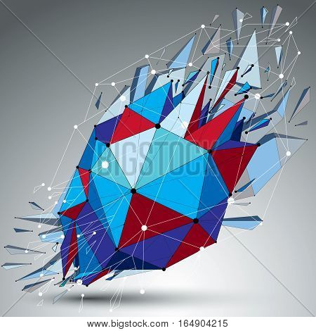 Abstract 3D Faceted Blue Spherical Figure With Connected Black Lines And Dots. Vector Low Poly Shatt