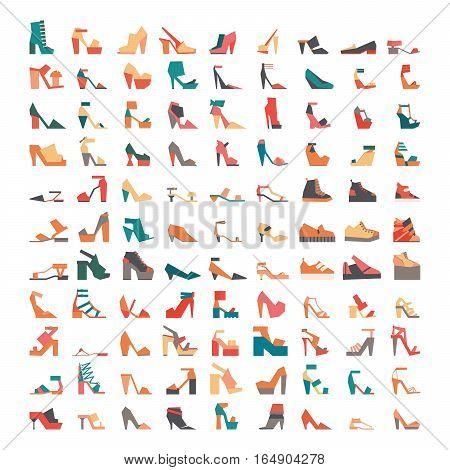 Large vector bundle with stylish contemporary flat shoes icons drawn in geometric style and isolated on white background. Large collection with 99 different colorful shoes sandals and footwear