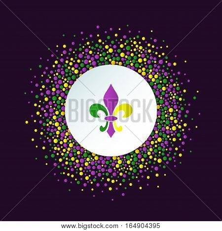 Mardi Gras holiday background. Round dotted frame with colorful fleur de lis. Vector template suitable for greeting cards invitations posters prints. EPS10.