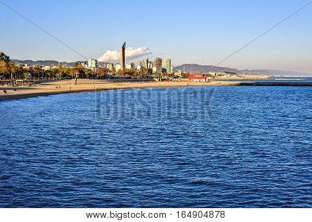 Barcelona Beach at sunset, Platja Nova Icaria or Barceloneta beauty