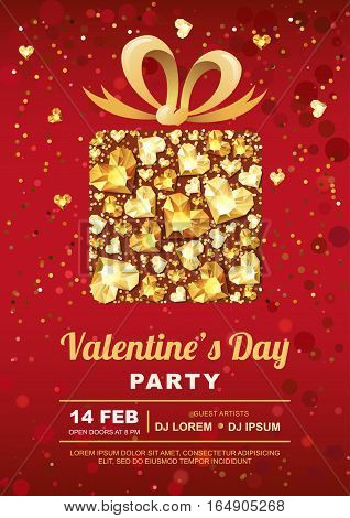 Valentines Day Party Vector Poster Design Template. Gift Box With 3D Gold Heart Gems.