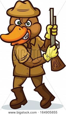 Duck Hunter with Rifle Cartoon Illustration Isolated on White