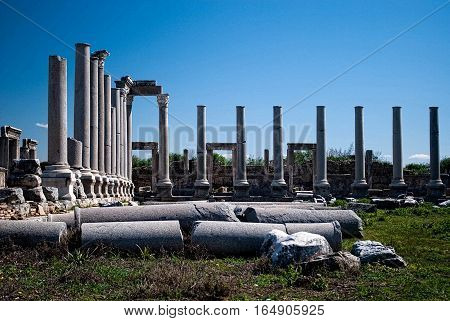 Magnificent scenery: the ruins of the ancient city - the fallen marble columns
