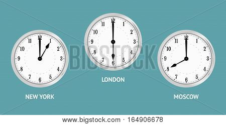 Wall clocks showing local times. Time zones cities New york, Moscow, London . Vector Illustration