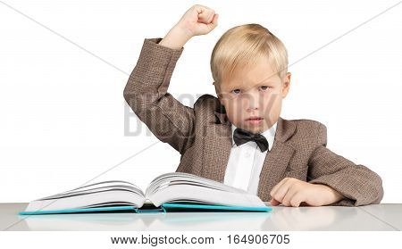 Closeup of an Angry Young Student with Book