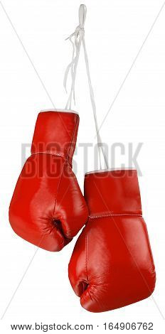 Pair of Blue Boxing Gloves Isolated Isolated on White
