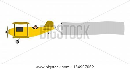 Yellow airplane with message banner to place your advertisement text. Isolated illustration on white background. Childish, retro, vintage style.