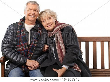 Portrait of a Mature Couple Relaxing on the Bench