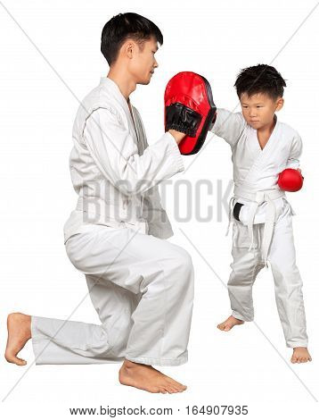 Portrait of a Man Teaching Martial Arts to a Kid