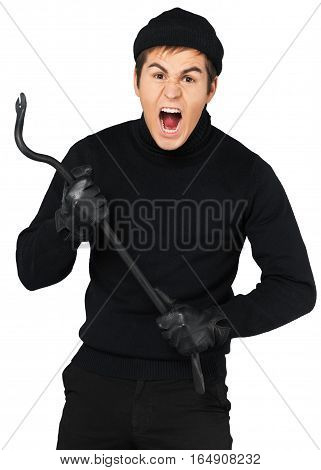 Portrait of a Screaming Thief Holding a Crowbar