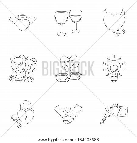 Romantic set icons in outline style. Big collection of romantic vector symbol stock