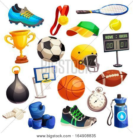 Sport inventory decorative icons set with basketball soccer rugby balls boxing gloves  tennis racket isolated flat vector illustration