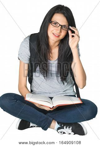 Woman Sitting with Legs Crossed with Backpack and Book - Isolated