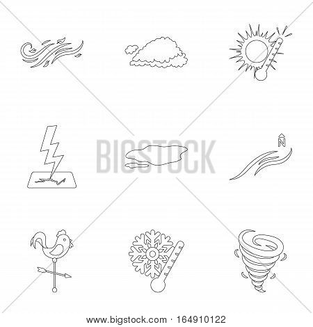 Weather set icons in outline style. Big collection of weather vector symbol stock
