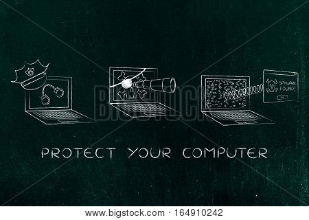 Laptop With Police Hat & Handcuffs Vs Pirate Spyware Computer