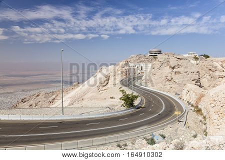 Road to the top of Jebel Hafeet mountain in Al Ain. Emirate of Abu Dhabi United Arab Emirates