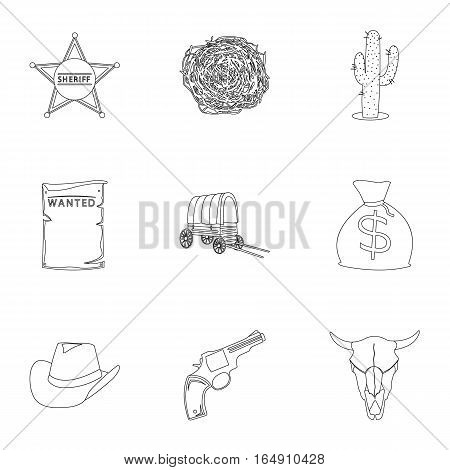 Wild west set icons in outline style. Big collection of wild west vector symbol stock