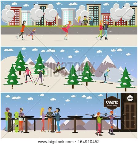 Vector set of people skating, skiing and having rest at cafe on mountain. Winter cityscape, mountain landscape and cafe on mountain peak backgrounds. Active winter people concept posters in flat style