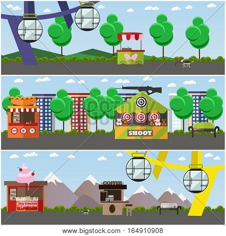 Vector set of amusement park concept posters, banners. Amusement park area with ferris wheel, shooting range attractions, food stalls, trolley design elements in flat style.