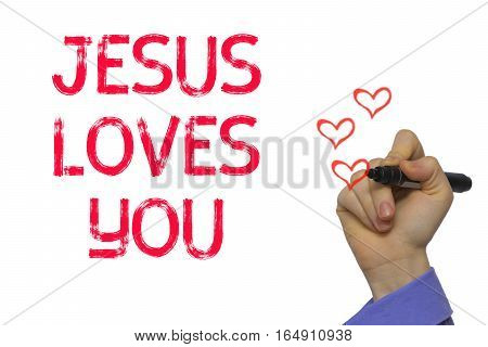 Hand With Marker Writing Word Jesus Loves You