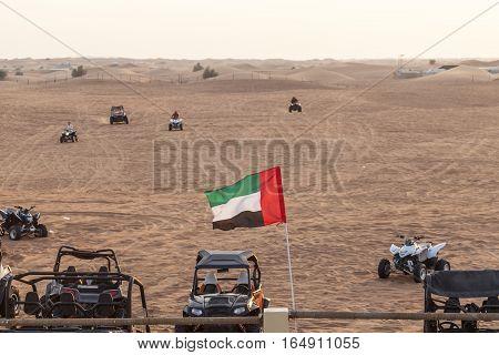 Quad bike riding station in the desert near Dubai. United Arab Emirates Middle East