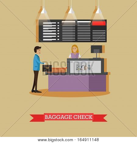 Airport baggage check concept vector illustration in flat style. Airport terminal, security checkpoint design element.