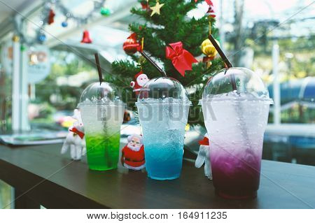 colorful italian soda in coffee shop, close up