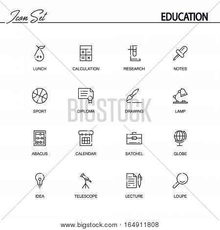Education flat icon set set. Collection of high quality outline symbols of education for web design, mobile app. Vector thin line icons or logo of lunch, calculation, telescope, lamp, diploma, drawing