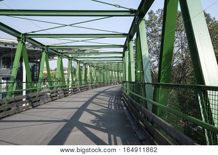 Milan (Lombardy Italy): a path in the park known as Parco Nord in october. Bridge for pedestrian and bicycle