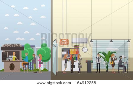 Vector illustration of business people making use of various gadgets at office, in the street. Modern gadgets in business concept design element in flat style.