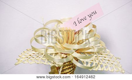 Dry Flower On A White Background, The Words On A Paper Sticker