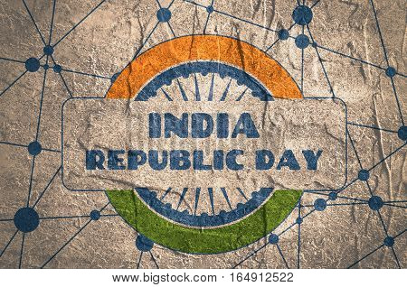 Indian Republic day concept with text India republic day. Modern brochure, report or flyer design template. Scientific design. Connected lines with dots. Round India flag. Grunge texture