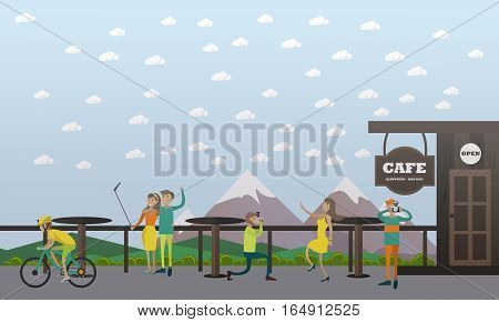 Vector illustration of photographers taking photo of woman and nature, couple taking selfie in cafe on the mountain. Photo concept design element in flat style