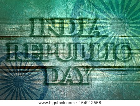 Indian Republic day concept with text India republic day. Modern brochure, report or flyer design leaflet. Wheels from India flag. Concrete and grunge texture