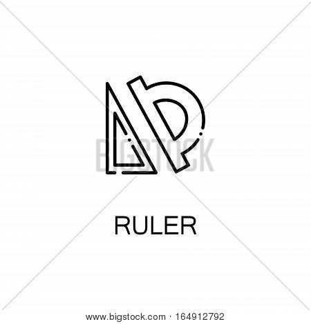 Ruler flat icon. Single high quality outline symbol of education for web design or mobile app. Thin line signs of Ruler for design logo, visit card, etc. Outline pictogram of Ruler