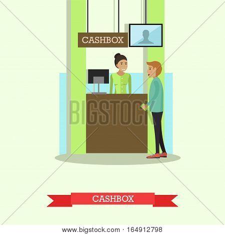 Vector illustration of bank teller serving customer. Cashbox, cash department. Banking concept design element in flat style