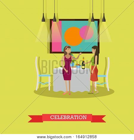 Vector illustration of women with sparklers. Festive dinner, bottle of champagne on the table. Living room interior. New Years Eve celebration design element in flat style.